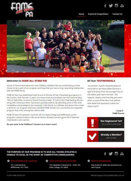 Fame All Stars PA Website