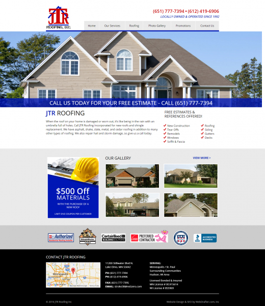 JTR Roofing Inc Website After