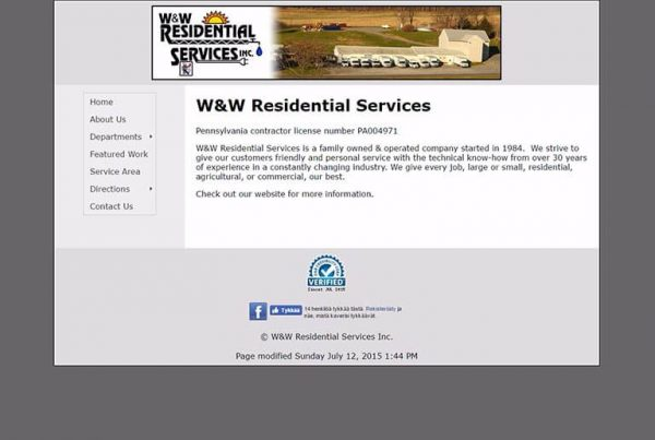 W & W Residential Services Inc Before Redesign
