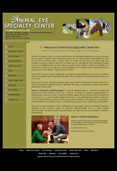Webdrafter.com Animal Eye Specialty Center After