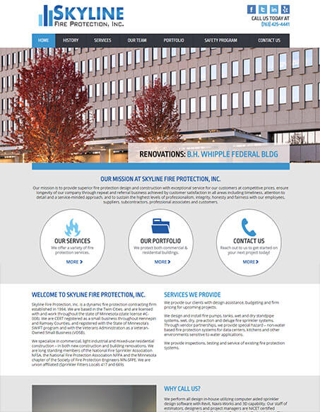 Skyline Fire Protection, Inc. Website Redesign
